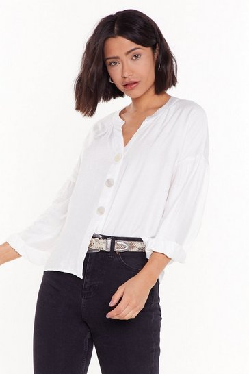 Womens White Balloon Sleeve Button Blouse