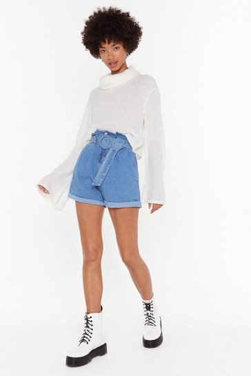 Womens Light blue Make 'Em Waist Paperbag Denim Shorts