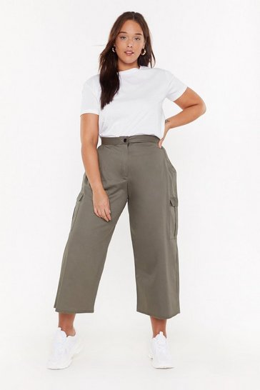 Womens Khaki Take Me For a Wide-Leg Plus Trousers