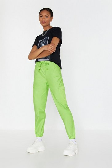 Womens Lime Cargo All Out High-Waisted Pants