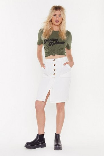 Womens White It's Time We Split Up Button-Down Midi Skirt