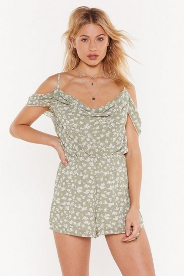 Womens Sage Grow Up Floral Cold Shoulder Romper