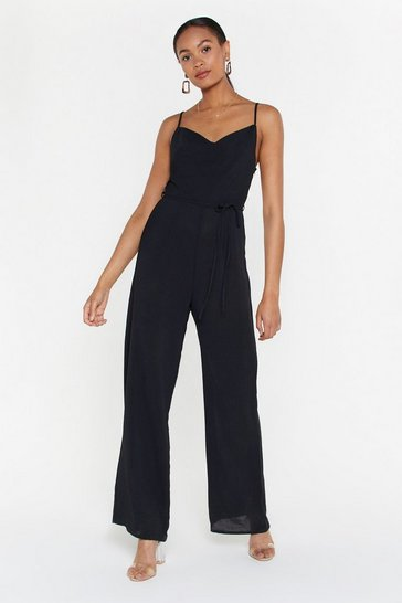 Womens Black Where Are You Cowl Wide-Leg Jumpsuit