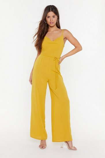 Womens Gold Where Are You Cowl Wide-Leg Jumpsuit