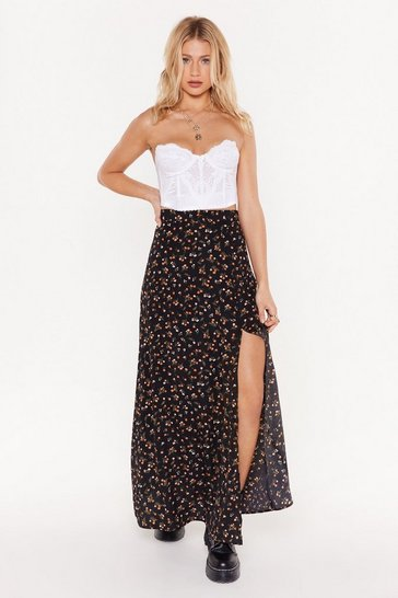 Womens Black Throw a Hissy Slit Floral Maxi Skirt
