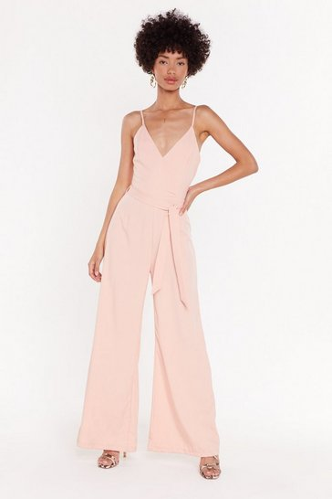 Womens Peach Keep It Down Wide-Leg Jumpsuit
