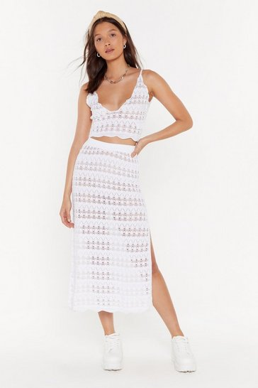 Womens White Cut to the Pointelle Crochet Crop Top
