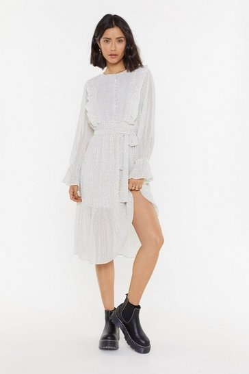 White I Dot You Polka Dot Midi Dress