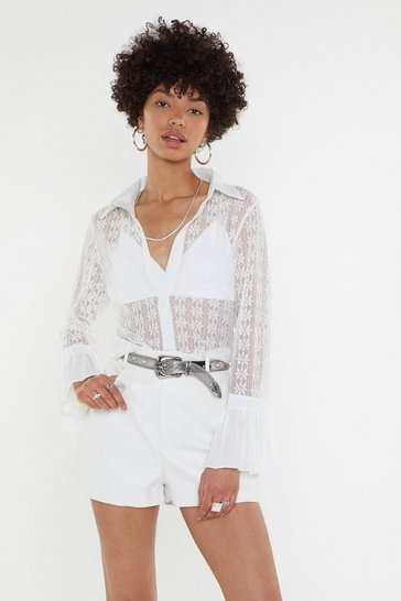 Womens White I Rest My Lace Flare Shirt