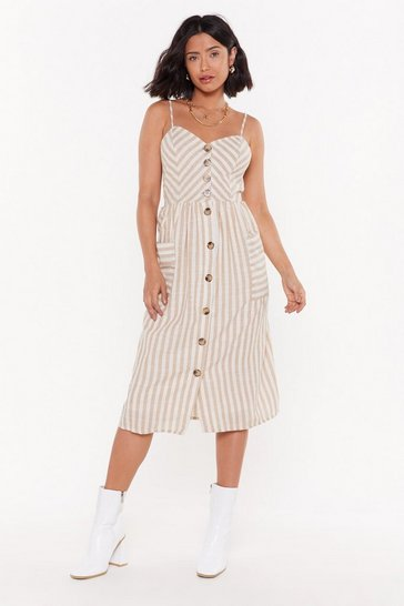Womens Beige Personality Stripe Button-Down Midi Dress