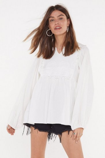 Womens White The Swing of It Crochet Oversized Blouse
