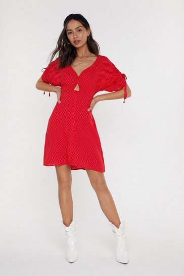Womens Red Believe It or Dot Button Mini Dress