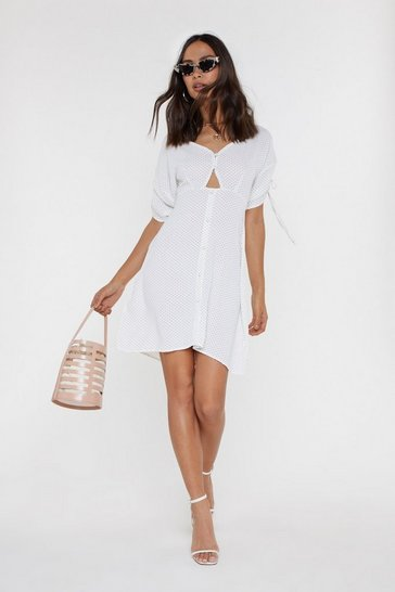 Womens White Believe It or Dot Button Mini Dress