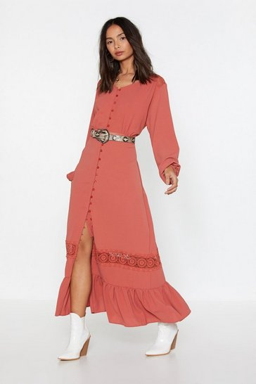 Womens Brick Take It to the Maxi Lace Maxi Dress