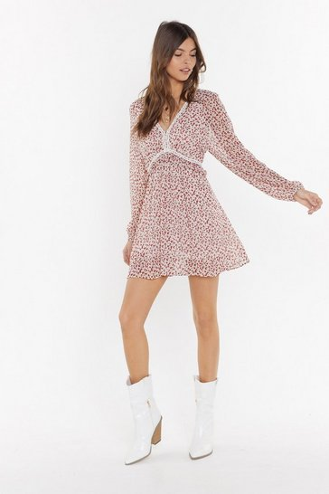 White Strike a Rose Floral Ladder Dress