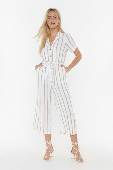 Womens Beige Lay It On the Line Striped Cropped Jumpsuit