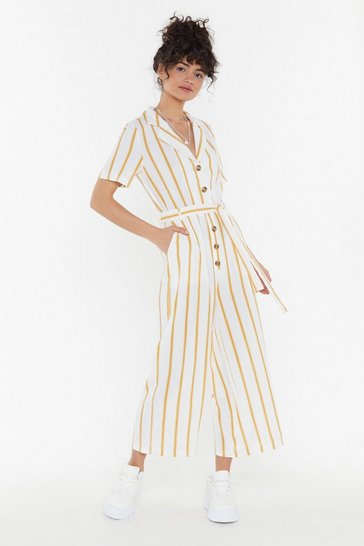 Womens Mustard Lay It On the Line Striped Cropped Jumpsuit