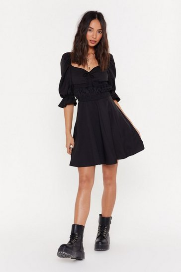 Womens Black Boom or Bust Puff Fit & Flare Dress