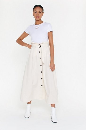 Womens Beige It's About to Go Button-Down Maxi Skirt