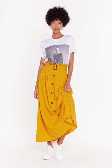 Womens Mustard It's About to Go Button-Down Maxi Skirt