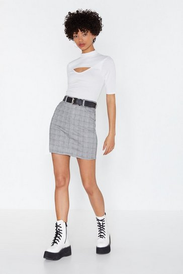 Womens Black Check On It Mini High-Waisted Skirt