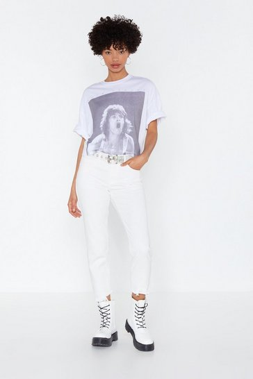 Womens White Cropped Boyfriend Fit Jean