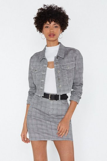 Womens Black Check On It Denim Cropped Jacket