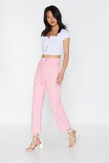 Womens Pink Paperbag Jeans