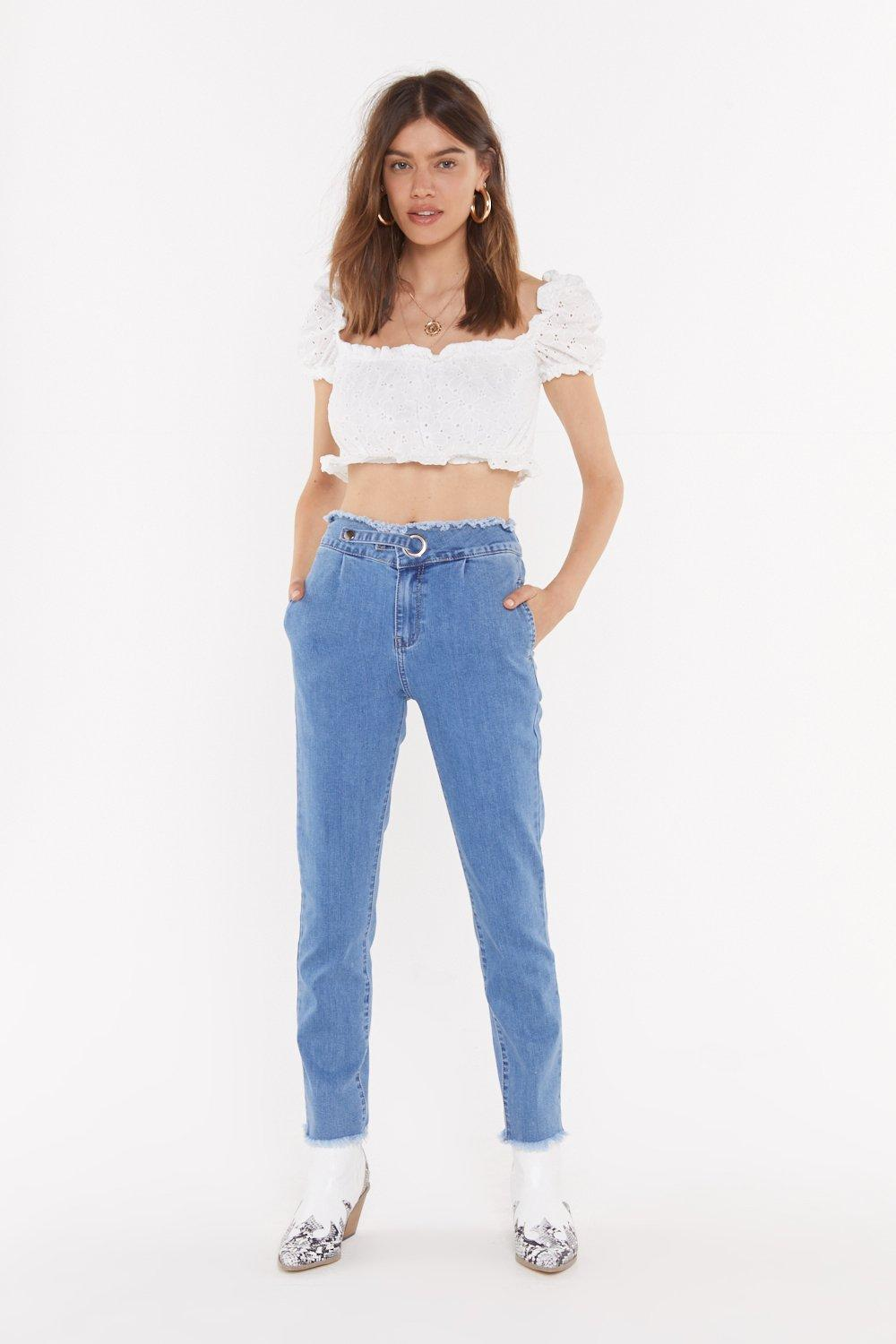 Eyelet It Be Skinny Frayed Jeans by Nasty Gal
