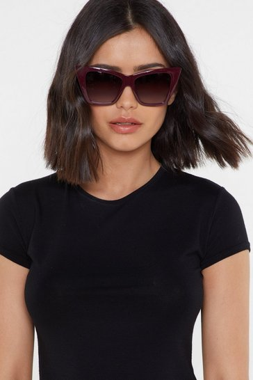 Womens Burgundy Your Point Being Cat-Eye Sunglasses