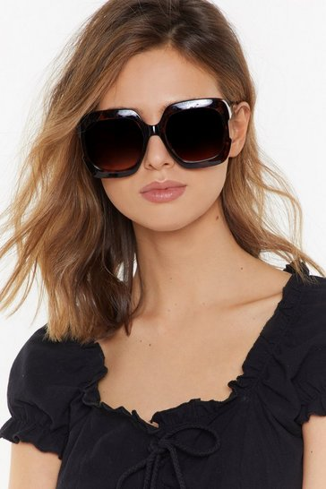 Womens Brown Get Out of My Face Oversized Square Sunglasses
