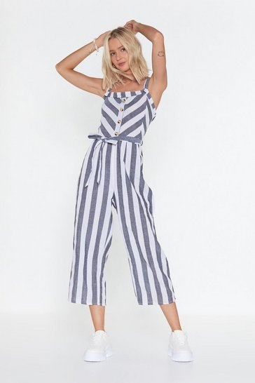 Womens Black Sweet Child of Line Striped Linen Jumpsuit