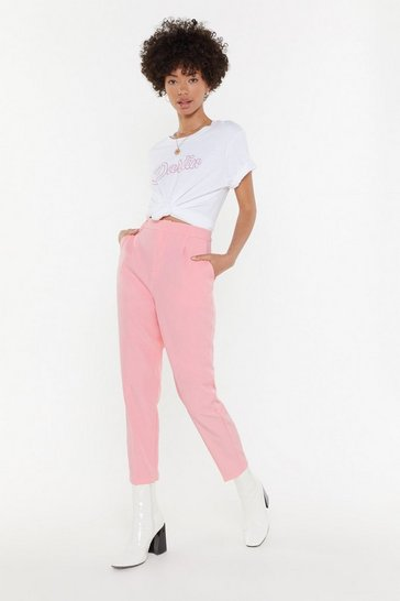 Womens Pink Suited and Booted Tapered Pants