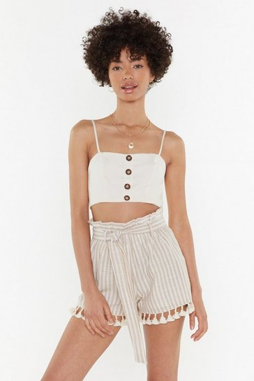 Womens Sand Dust Off the Competition Tassel Stripe Shorts
