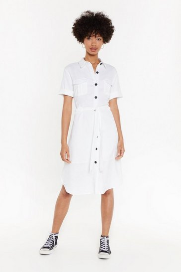 Womens White Button Down Shirt Dress