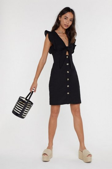 Womens Black Tie Bust Button Down Mini Dress