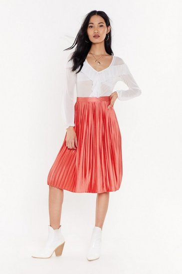 Womens Coral Do As You Pleat Satin Midi Skirt
