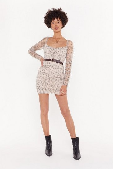Womens Nude Really Hit the Spots Mesh Ruched Dress