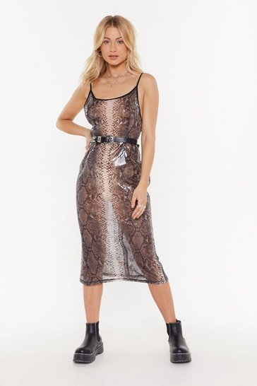 Womens Grey Snake 'Em an Offer Sequin Snake Midi Dress