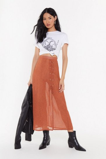 Womens Ginger No Strings Attached Lace-Up Maxi Skirt