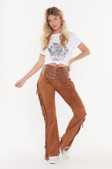 Womens Tan Keep Your Fringe Close Faux Suede Trousers