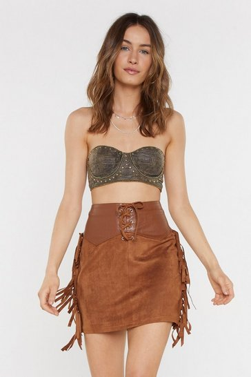 Womens Tan Well Suede Honey Faux Suede Mini Skirt