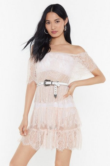 Nude Lace to Lace Tiered Off-the-Shoulder Dress