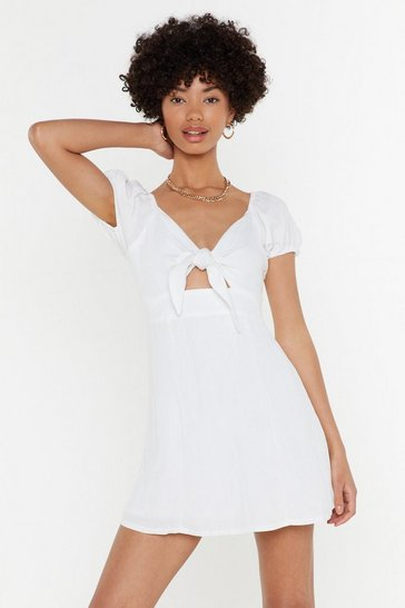 Womens White Can't Tide From Me Linen Mini Dress