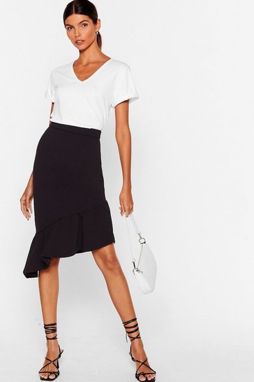 Black One of Hem Days Asymmetric Midi Skirt