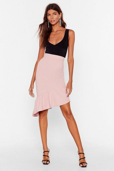 Blush One of Hem Days Asymmetric Midi Skirt