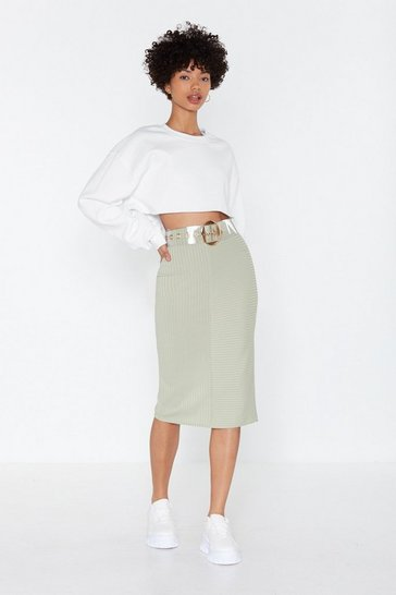 Womens Sage Cutting It Close Ribbed Bodycon Midi Skirt