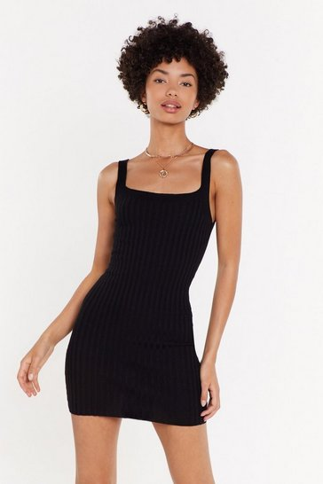 Womens Black Square Neck Ribbed Knitted Mini Dress