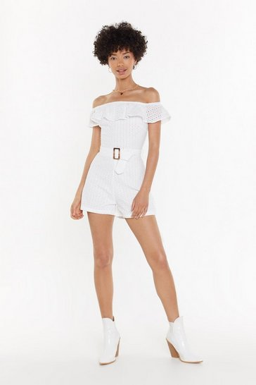 Womens White Lace Bardot Belted Romper