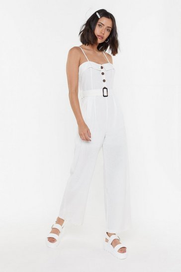Womens White Holding It in Belted Wide-Leg Jumpsuit